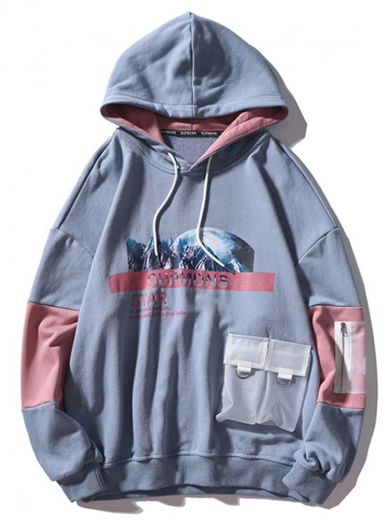 lady Mountain Outer Space Graphic Contrast Color Transparent Pockets Hoodie - LIGHT SLATE GRAY L