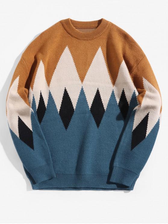 fashion Colorblock Geometric Graphic Crew Neck Pullover Sweater - LIGHT BROWN 2XL