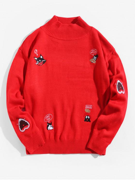 unique Embroidery Animal Letter Graphic Mock Collar Pullover Sweater - LAVA RED XL