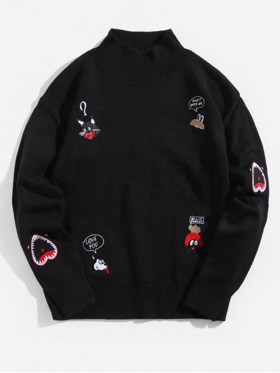 affordable Embroidery Animal Letter Graphic Mock Collar Pullover Sweater - BLACK L