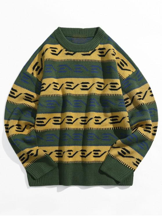 lady Color Blocking Spliced Graphic Drop Shoulder Pullover Sweater - MEDIUM FOREST GREEN 2XL