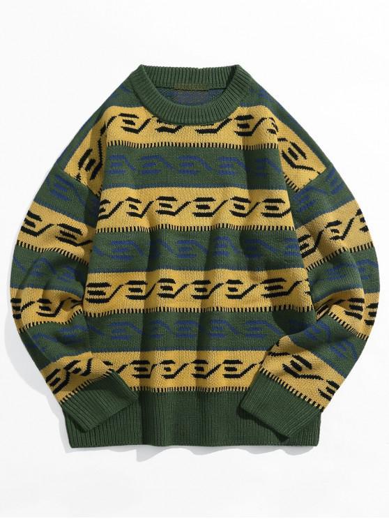 El bloqueo de color empalmado gota gráfico hombro suéter suéter - Bosque Verde Mediana XL