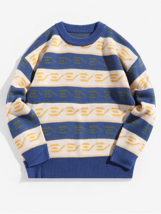 unique Color Blocking Spliced Graphic Drop Shoulder Pullover Sweater - OCEAN BLUE XL