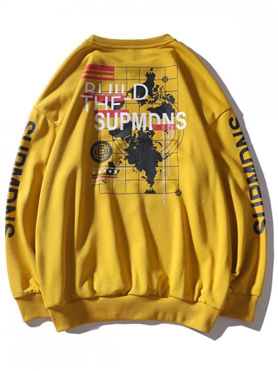 La camiseta del hombro Carta Mundial mapa gráfico gota - Amarillo 4XL