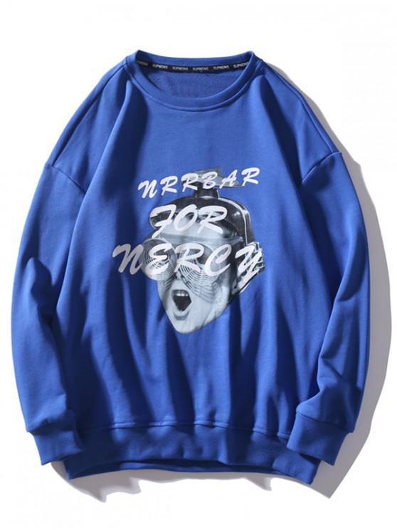 Lustige Kid Grafik Tropfen Schulter Beiläufiger Sweatshirt - Blau L