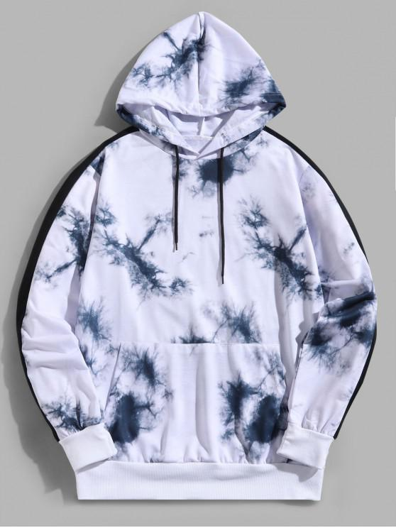 outfit Colorblock Pattern Splicing Kangaroo Pocket Hoodie - WHITE S