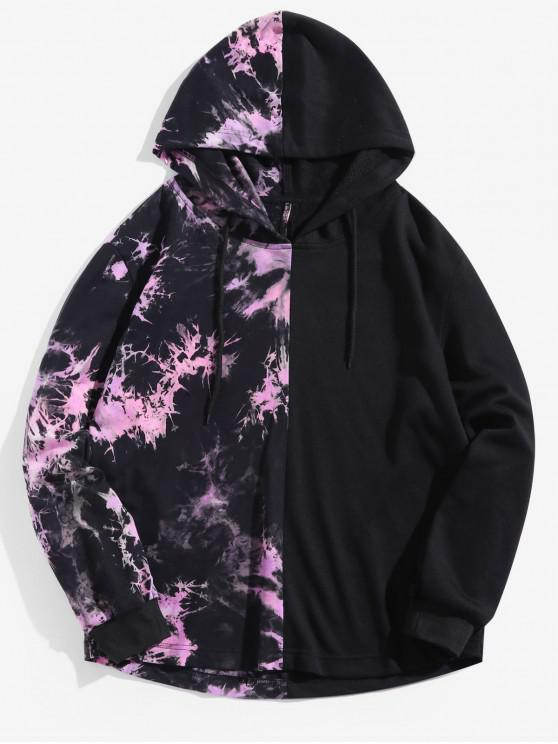 women Paint Splatter Splicing Hoodie - MULTI 2XL