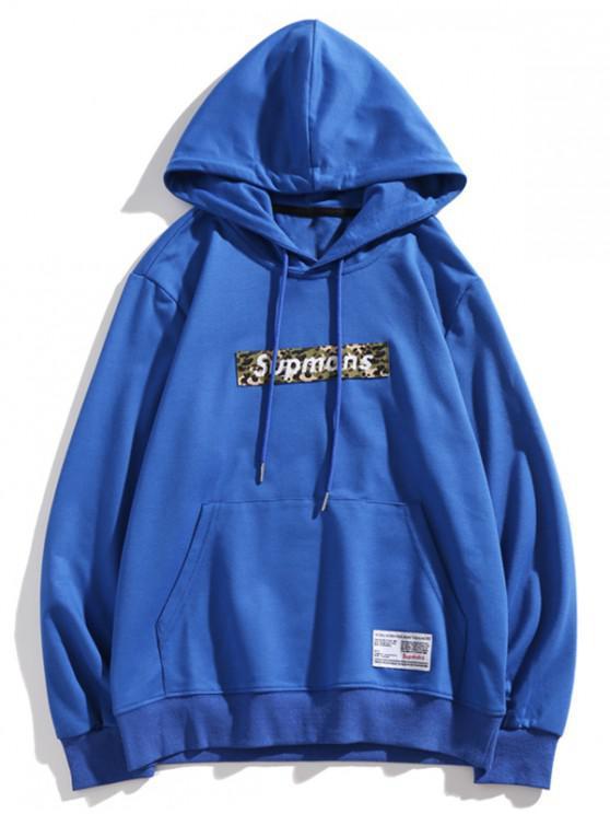 hot Camo Letter Kangaroo Pocket Casual Hoodie - BLUE XS
