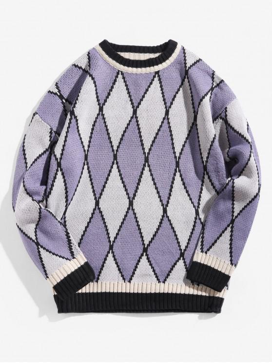 womens Geometric Graphic Contrast Trim Pullover Sweater - PURPLE SAGE BUSH L