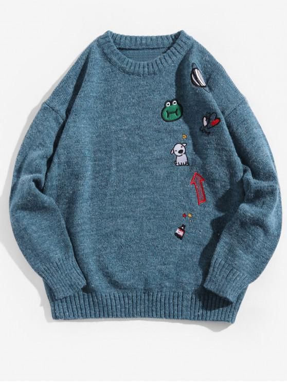 unique Animal Planet Embroidery Graphic Crew Neck Sweater - SILK BLUE 2XL