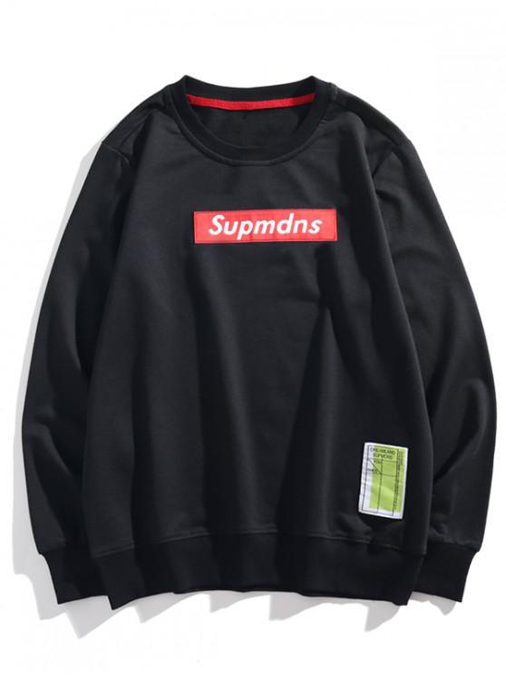buy Letter Graphic Applique Drop Shoulder Lounge Sweatshirt - BLACK M