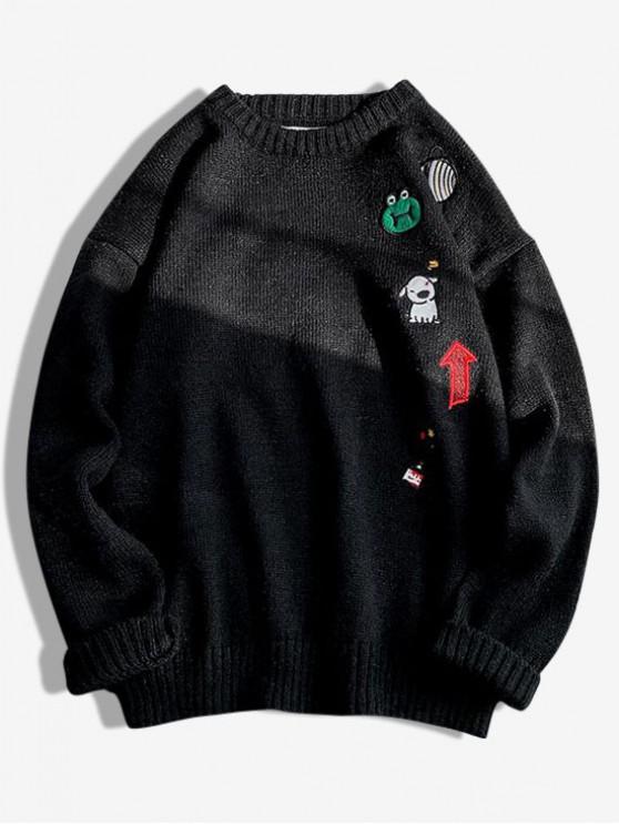 Animal Planet bordado gráfico suéter de cuello redondo - Negro L