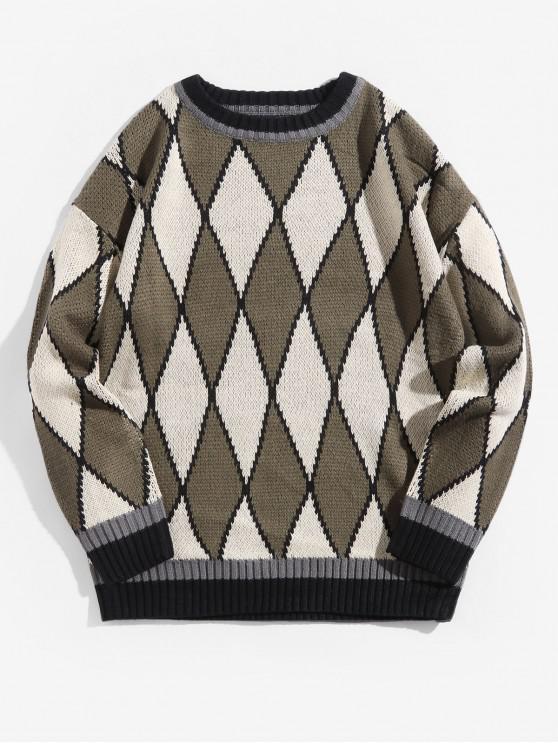 Geométrica contraste gráfico recorte suéter suéter - Verde Marrón Claro L