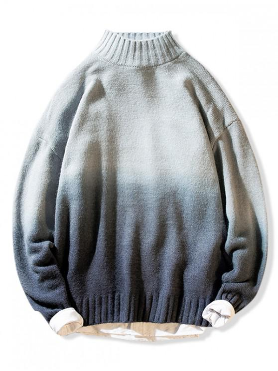 trendy Mock Neck Ombre Graphic Pullover Sweater - GRAY M