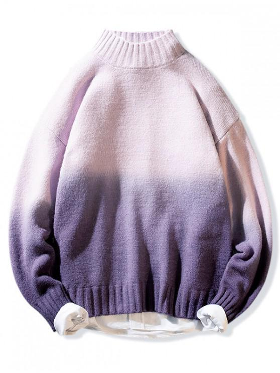 affordable Mock Neck Ombre Graphic Pullover Sweater - PINK M