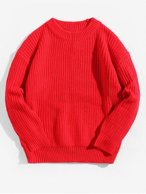 new Solid Color Crew Neck Basic Pullover Sweater - LAVA RED L