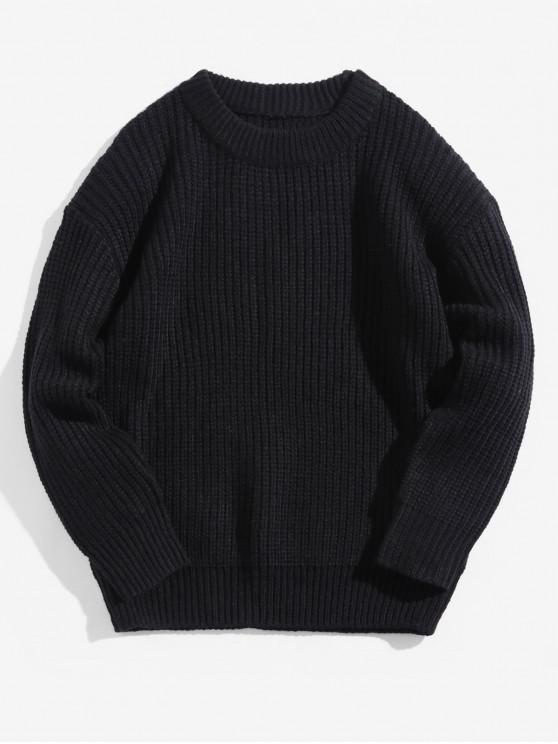 best Solid Color Crew Neck Basic Pullover Sweater - BLACK 2XL