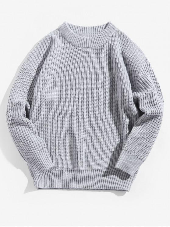 online Solid Color Crew Neck Basic Pullover Sweater - LIGHT GRAY L