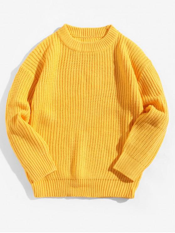 chic Solid Color Crew Neck Basic Pullover Sweater - RUBBER DUCKY YELLOW L