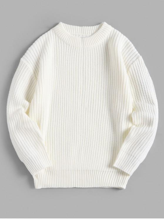 Solid Crew Neck color básica del jersey del suéter - Blanco XL