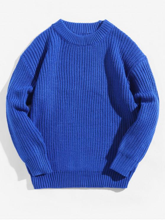 new Solid Color Crew Neck Basic Pullover Sweater - COBALT BLUE 2XL