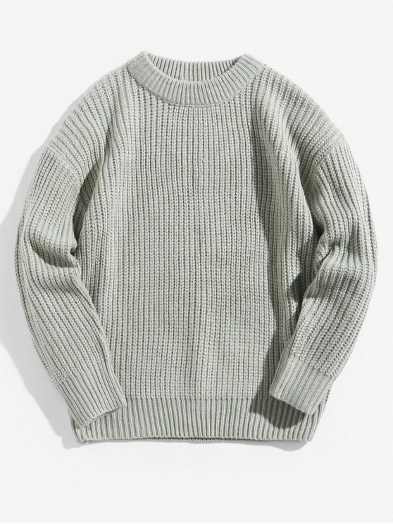 outfit Solid Color Crew Neck Basic Pullover Sweater - LIGHT GREEN L