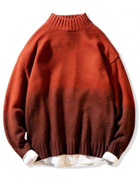 Medio Cuello Ombre gráfico suéter suéter - Caramelo S