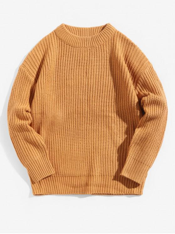 unique Solid Color Crew Neck Basic Pullover Sweater - SANDY BROWN XL