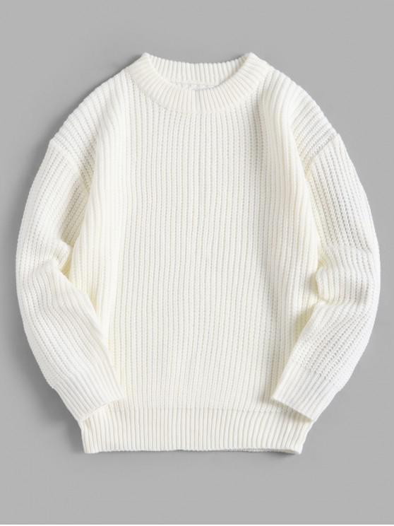 women Solid Color Crew Neck Basic Pullover Sweater - WHITE L