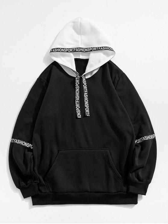 ladies Letter Graphic Color Spliced Drawstring Hoodie - BLACK XL