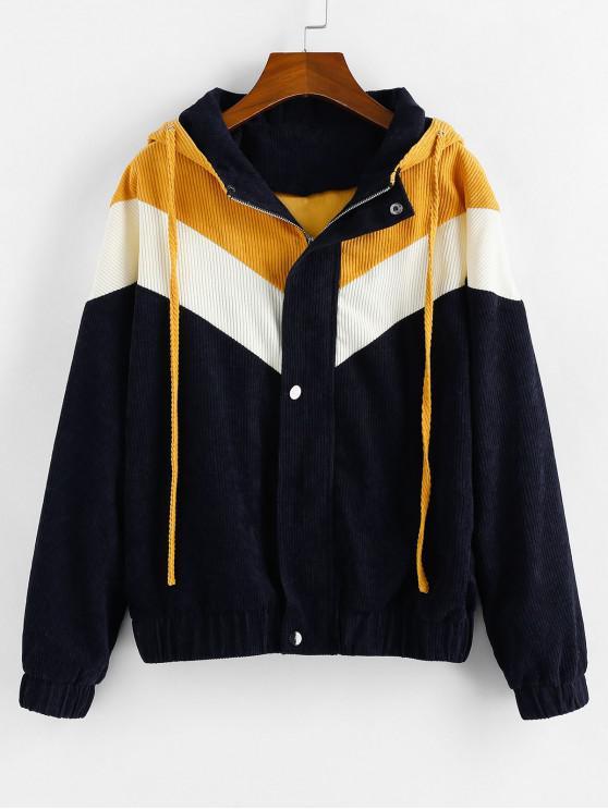 ladies ZAFUL Color-blocking Corduroy Hooded Zipper Coat - MULTI M