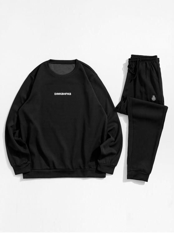 shop Letter Printed Long-sleeved Sweatshirt and Pants - BLACK XS