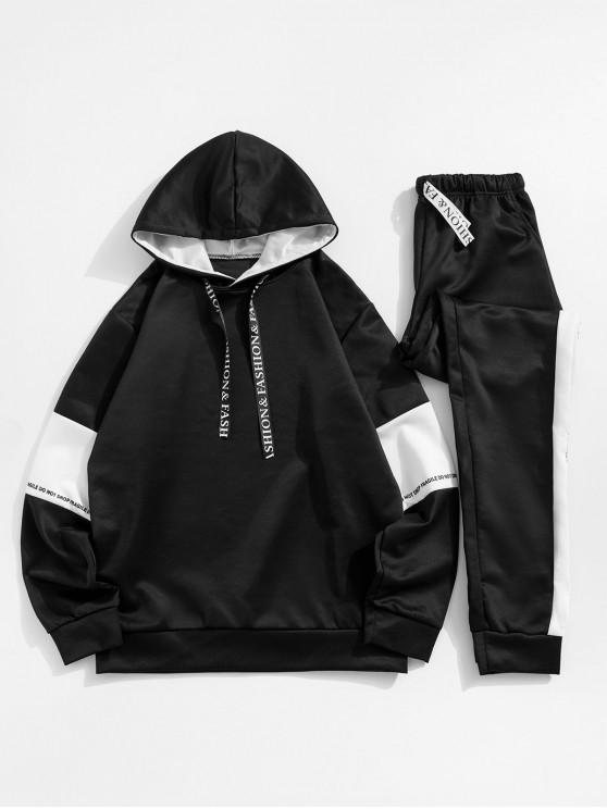 buy Color-blocking Letter Print Hoodie and Pants - BLACK XS