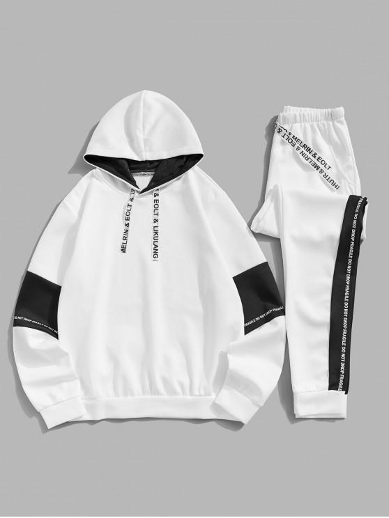 online Color-blocking Letter Print Hoodie and Pants - WHITE XS