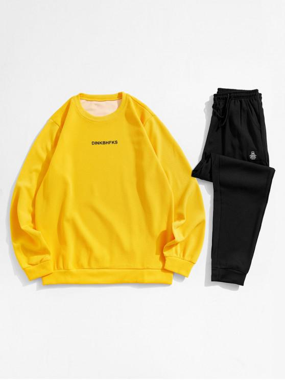 fashion Letter Printed Long-sleeved Sweatshirt and Pants - YELLOW XS
