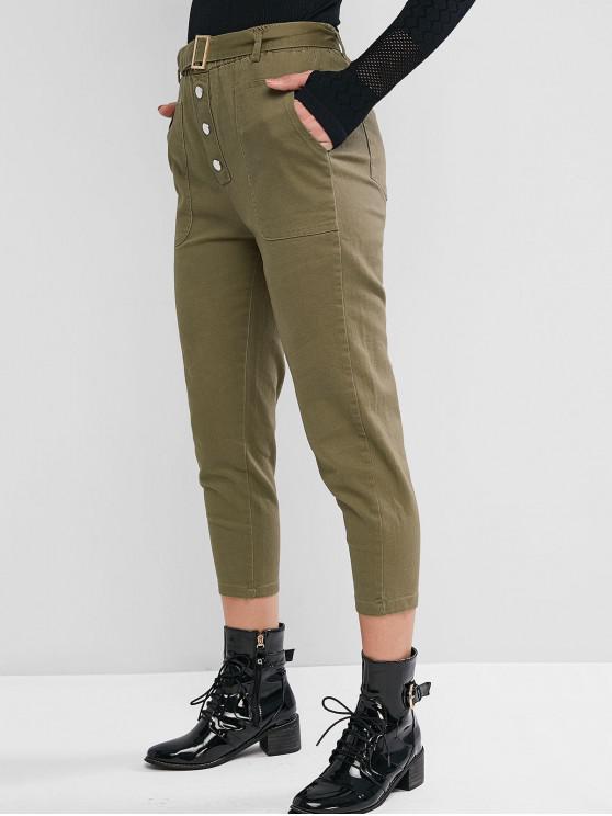 Knopf Einfarbige Gurt Hosen - Armeegrün M