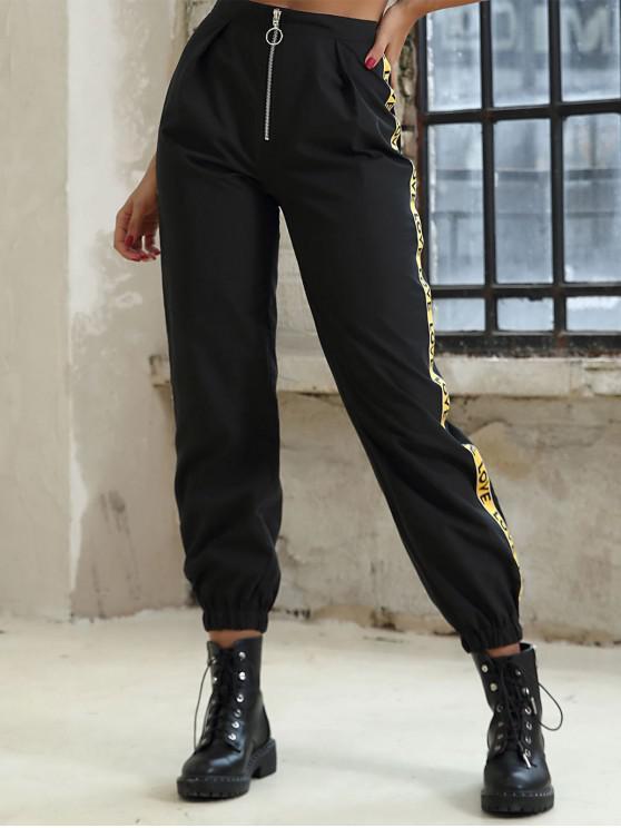 Cinta carta pantalones de cintura alta del basculador informal - Negro L
