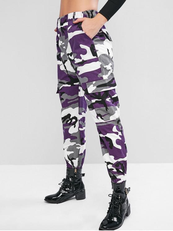 Pantalones de camuflaje Flap bolsillo de cintura alta del basculador - Multicolor-A S