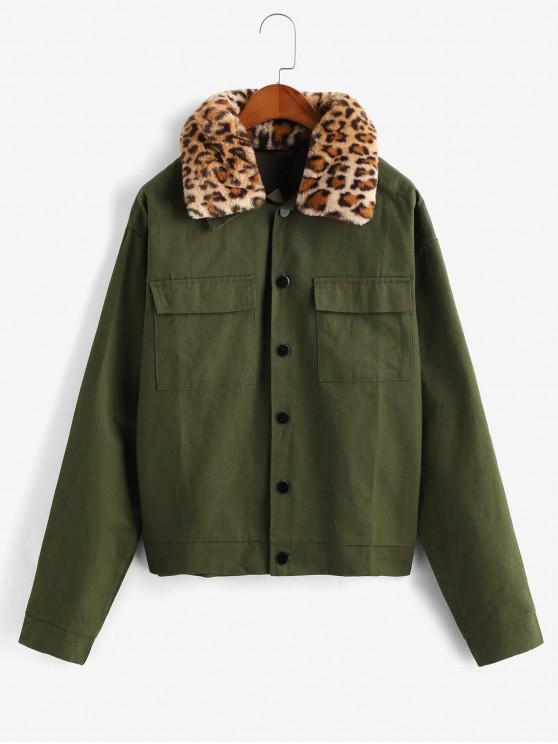 lady Button Front Leopard Fur Collar Flap Pockets Jacket - ARMY GREEN XL