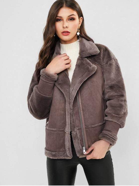 trendy Faux Fur Panel Fluffy Zip Pocket Coat - COFFEE XL