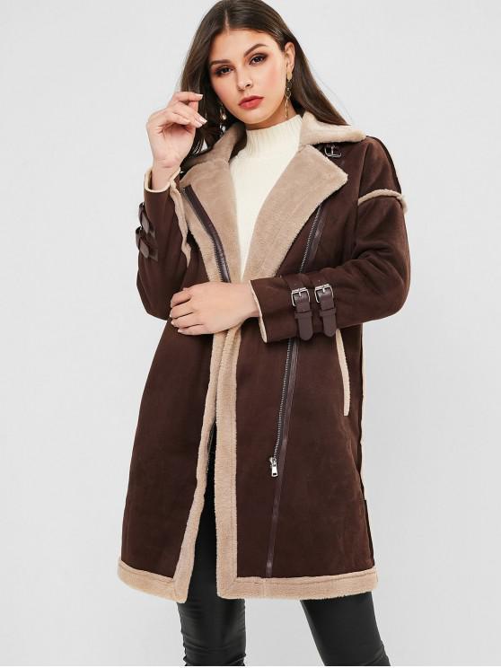 fancy Faux Suede Fluffy Fur Lined Belted Cuff Zip Long Coat - COFFEE L