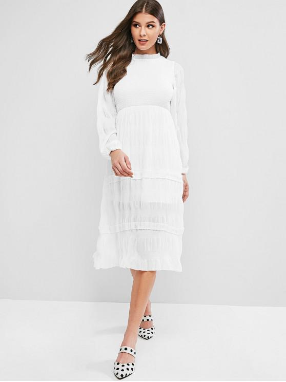 latest Ruffle Neck Smocked Long Sleeve Dress - WHITE L