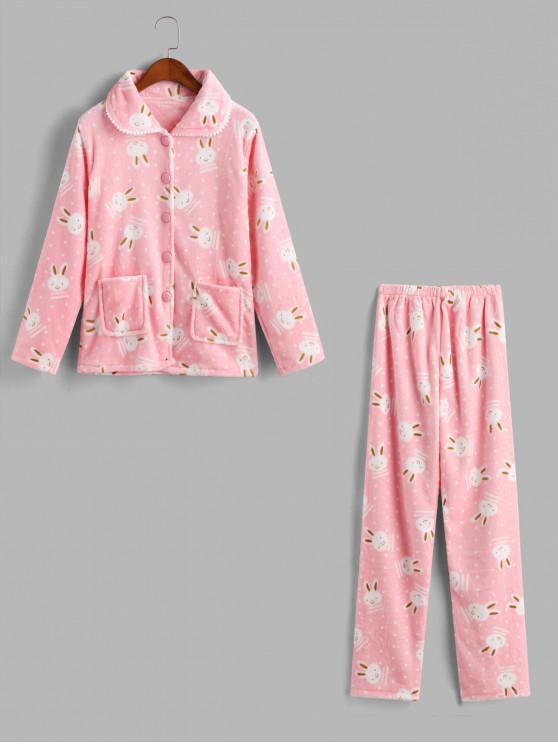 women Rabbit Fuzzy Pocket Pajama Pants Set - PINK 2XL