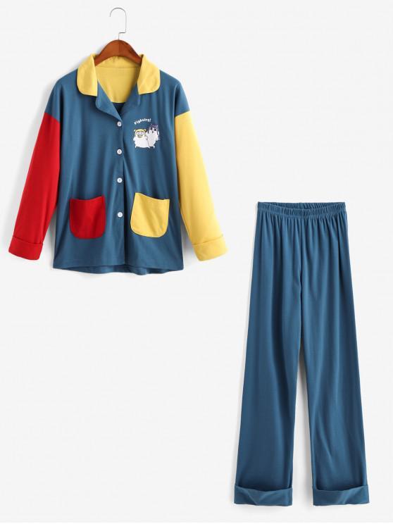 unique Cartoon Colorblock Pocket Cuffed Pajama Pants Set - PEACOCK BLUE XS