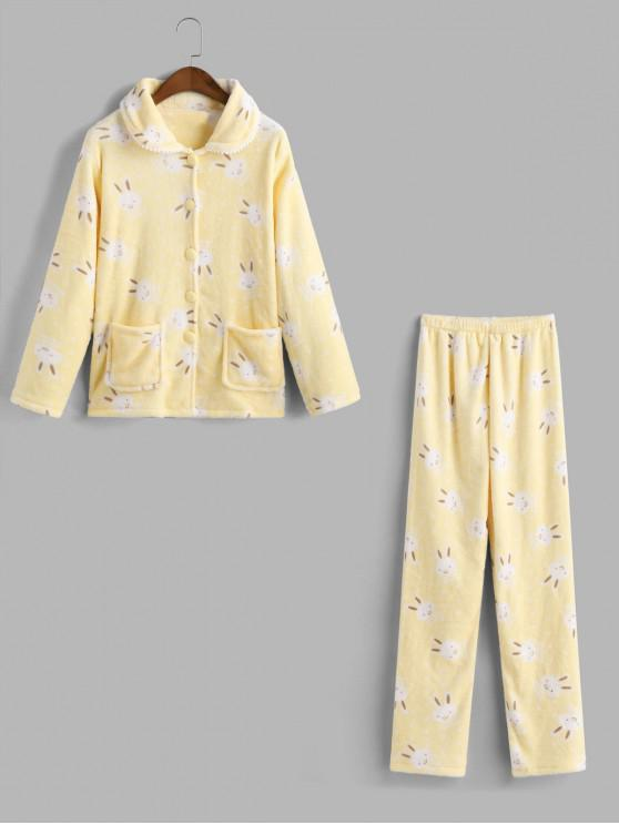 women's Rabbit Fuzzy Pocket Pajama Pants Set - YELLOW 2XL