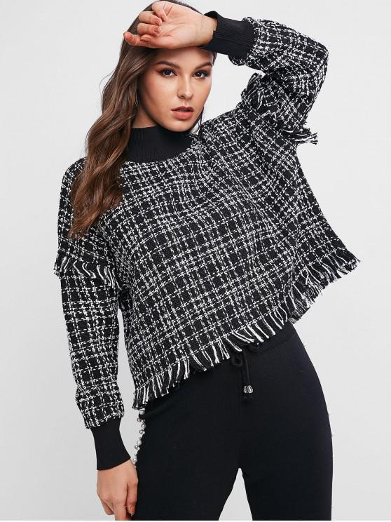 outfit Drop Shoulder Frayed Tweed Sweatshirt - BLACK S