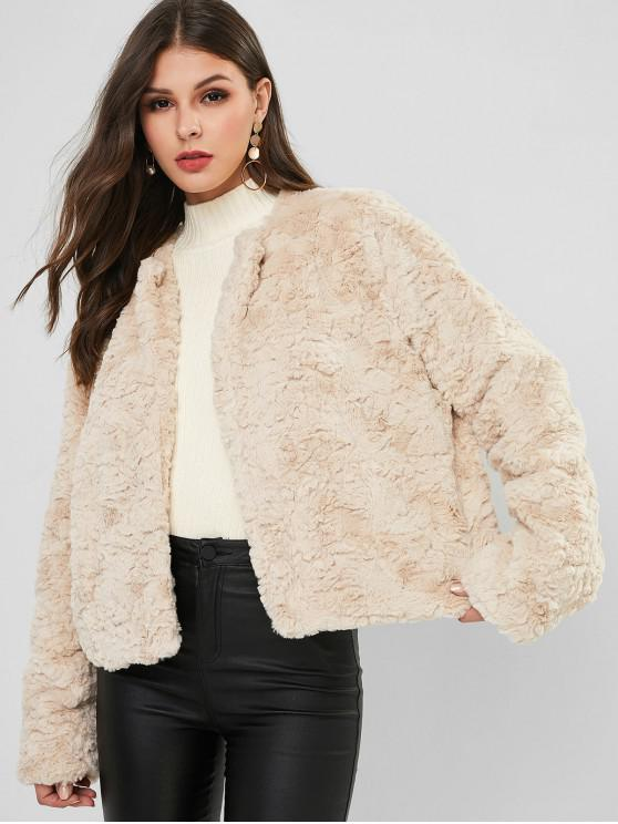 new ZAFUL Open Front Solid Color Faux Fur Coat - BEIGE L