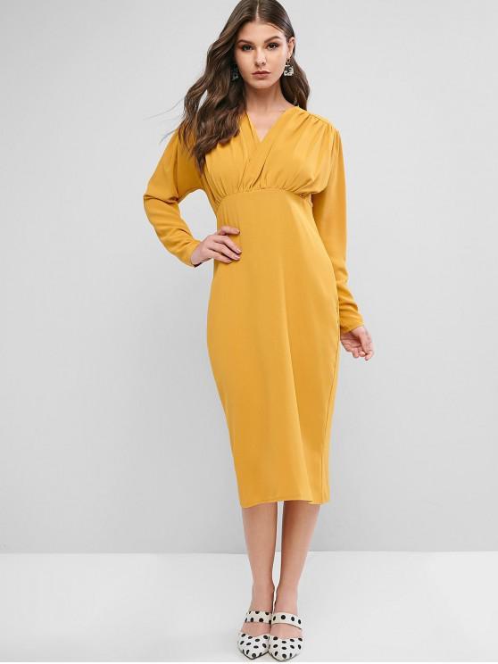 affordable V Neck Back Slit Midi Party Dress - ORANGE GOLD L