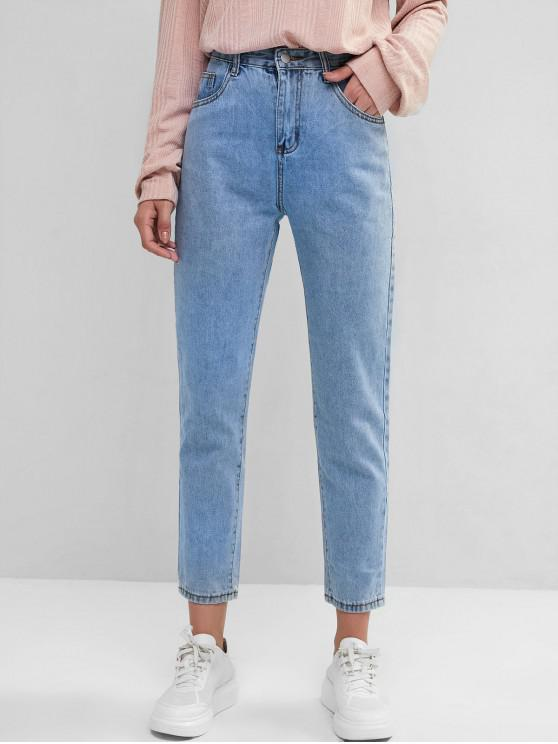 fashion Basic Mom Jeans - BLUE S