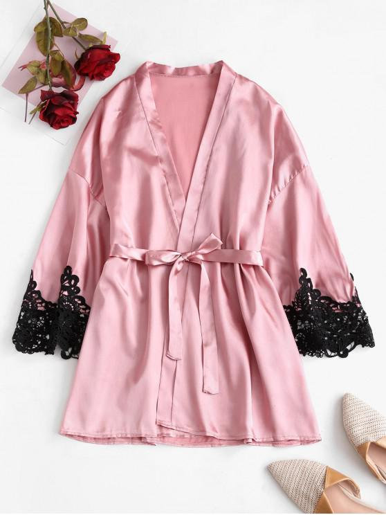 lady Lace Panel Belted Mini Night Robe - PINK L
